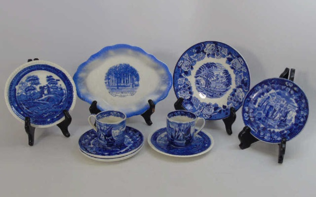 9 Assorted Antique Blue & White Porcelain Items