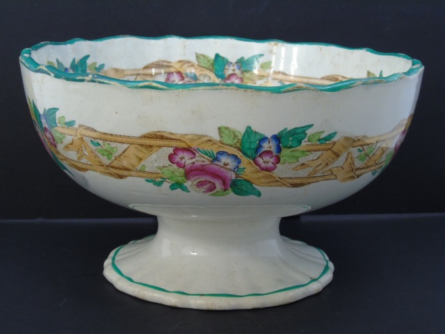 Antique 19th C Porcelain Center Piece / Punch Bowl