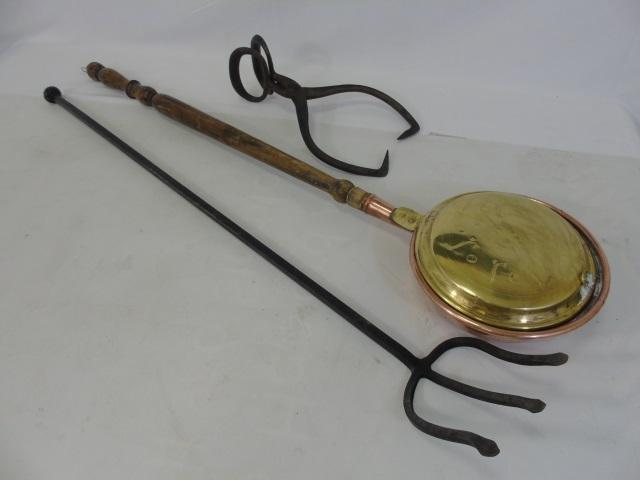 Antique American Primitive Lot Tools / Bed Warmer