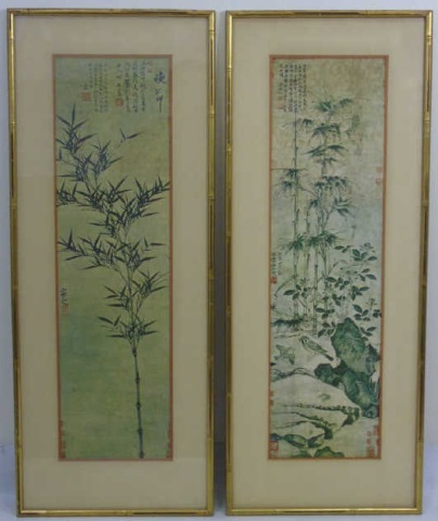 Pair Asian Framed Prints - Bamboo & Birds - Signed