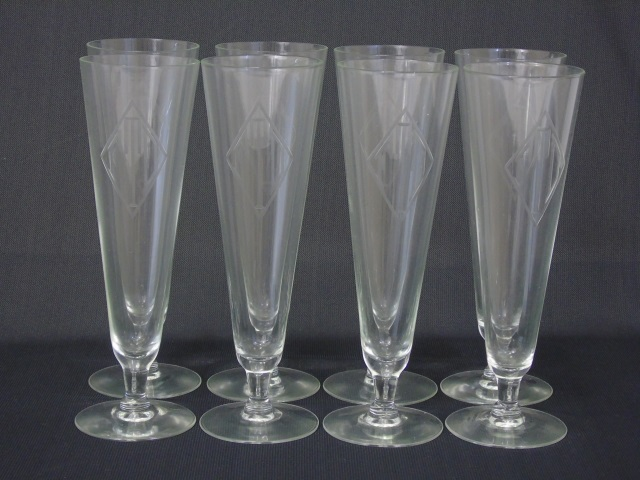 8 Vintage Etched Art Deco Champagne Flutes