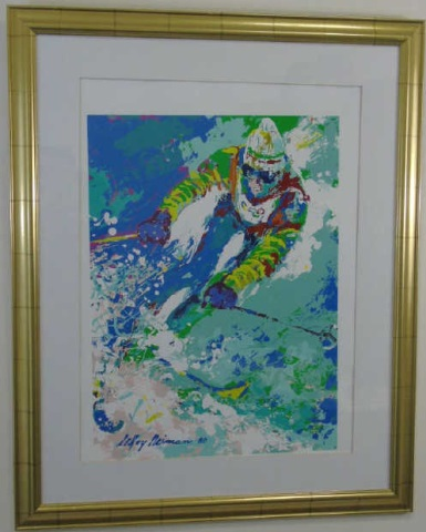 LeRoy Neiman 1980 Framed Print of a Skiier