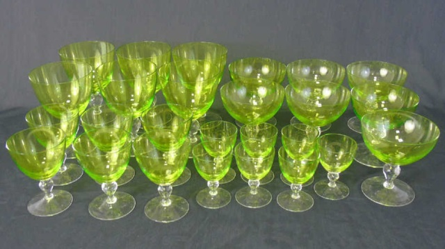 Vintage Green Clear Glass Stemware Service for Six
