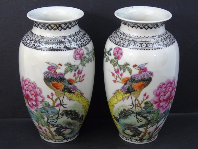 Pair Matched Chinese Famille Rose Vases Peacocks
