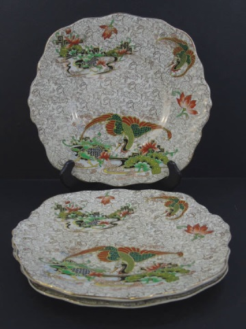 3 Chinese Koi Motif English Phoenix Ware Plates