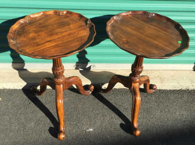Pair Hand Carved Piecrust Pedestal End Tables