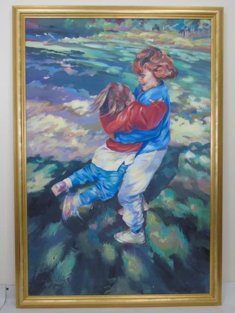 Large Framed & Signed Portrait of a Mother & Child