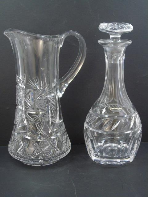 Cut Crystal Barware Items - Decanter & Pitcher