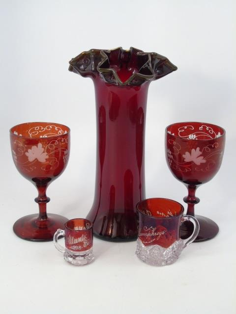 Assorted Antique & Vintage Ruby & Blown Glass
