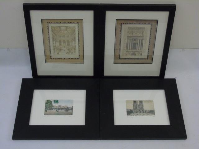 4 Framed Prints - Architectural & French Postcards