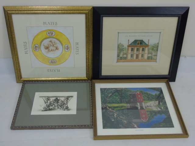 Four Assorted Vintage & Contemporary Framed Prints