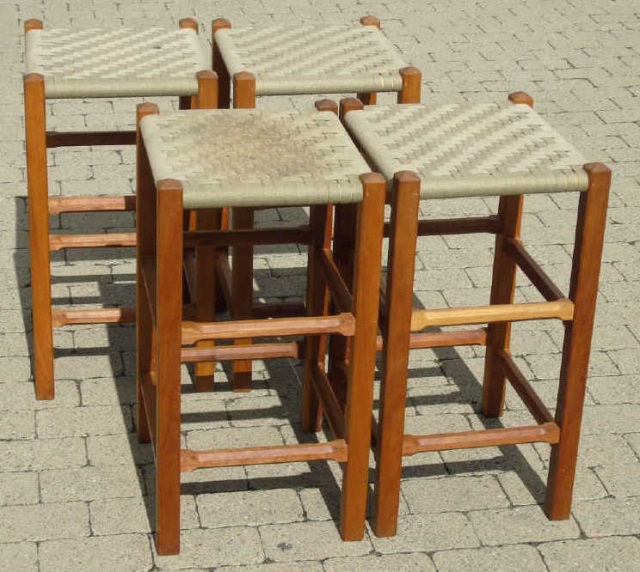 Four Contemporary Modern Woven Seat Bar Stools