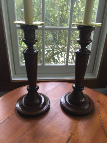 Pair Contemporary Carved Wood Candlestick Lamps
