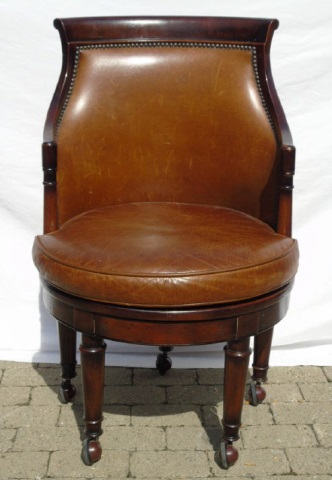 Contemporary Empire Style Leather Barrel Chair