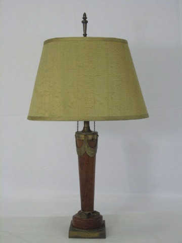 Antique Carved Oak and Ormolu Table Lamp