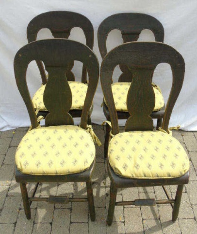 4 Matched Antique Penna Dutch Painted Side Chairs