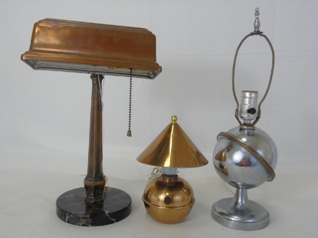 3 Vintage Lamps Copper Student & Craftsman Style