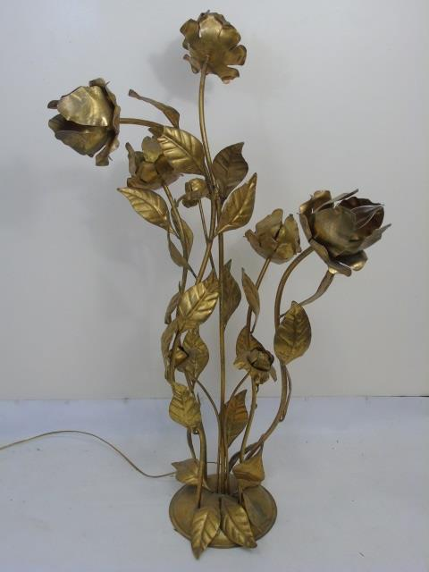 Vintage Gold Leaf Floral Motif Metal Table Lamp