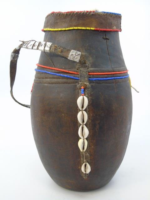 Antique African Hide Cowrie & Bead Tobacco Vessel
