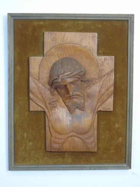 Moore - Hand Carved Vintage Jesus Plaque