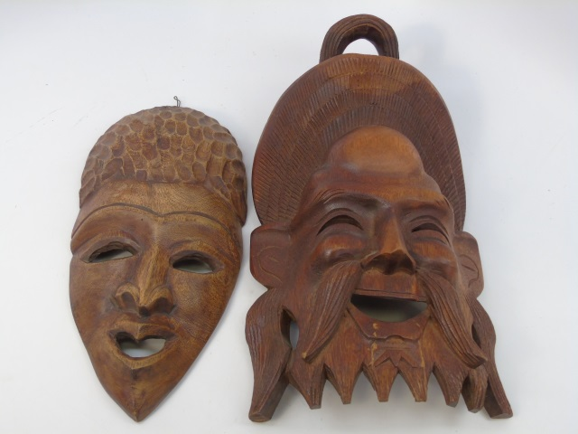 Two Hand Carved Decorative Wall Hanging Masks