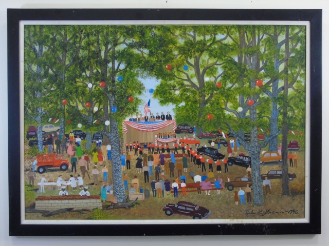 Helen La France Political Picnic Folk Art Painting