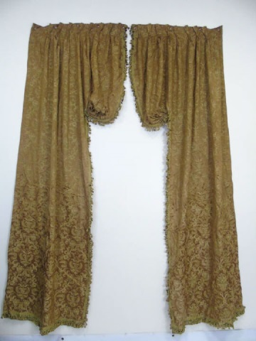 Pair Custom Made Silk Fortuny Fabric Curtains