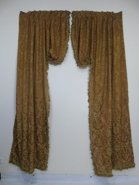 Pair Custom Made Silk Fortuny Fabric Curtain