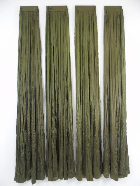 Four Custom Made French Green Silk Curtain Panels