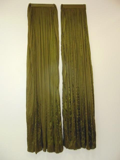 Pair Custom Made French Green Silk Curtain Panels