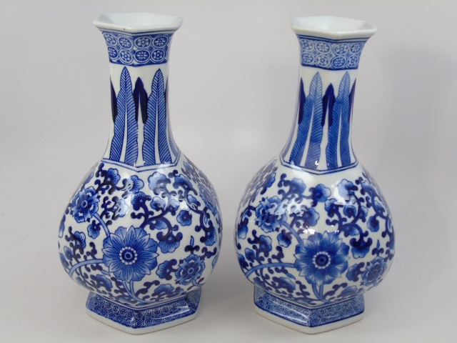 Pair Chinese Canton Blue & White Table Vases