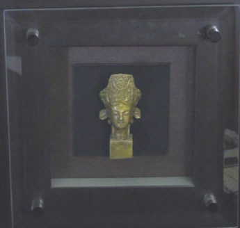 Bronze Chinese Buddha Head in Shadow Box Frame