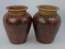 Pair African Style Pottery & Rattan Table Vases