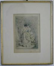 Antique 19th C Victorian Engraving of Two Women