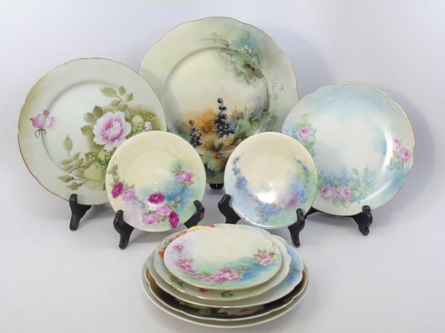 Ten Hand Painted Antique German Floral Plates