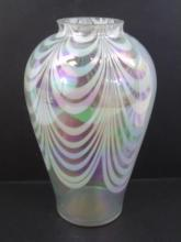 Quezal Style Art Glass Iridescent Table Vase