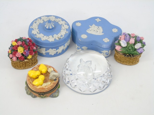 Assorted Vintage Boxes & Vases Incld. Wedgwood