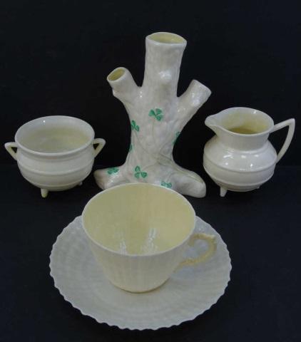 Five Vintage Belleek Items - Cup, Vases, etc