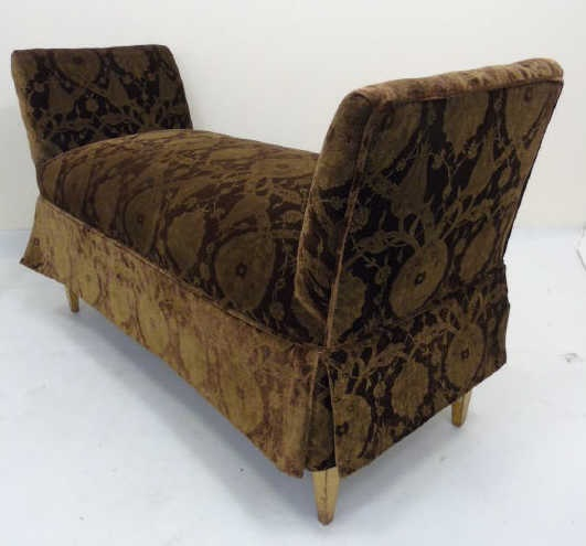 Contemporary Upholstered Bench w/ Arms & Skirt