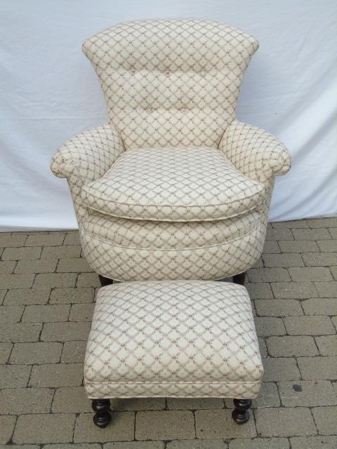 Antique Upholstered Tufted Back Armchair & Ottoman