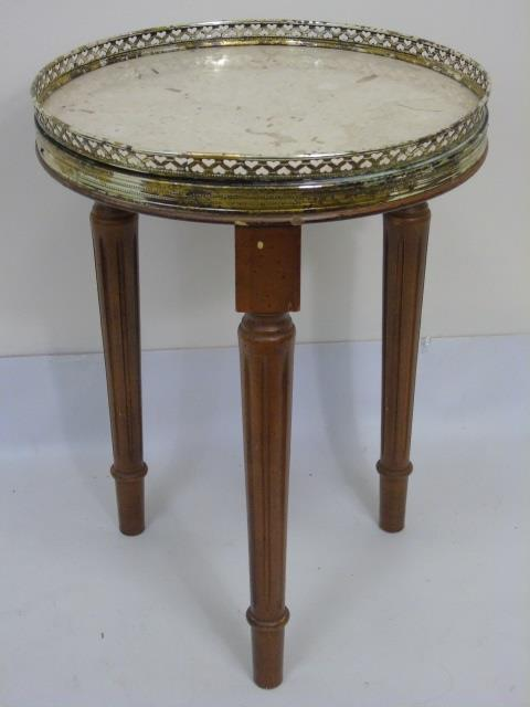 French Style Ormolu Galleried Marble Top End Table