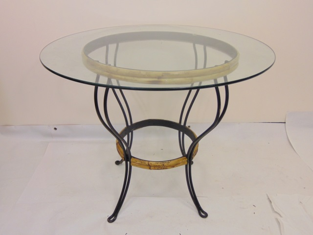 Contemporary Wrought Iron Glass & Rattan Table