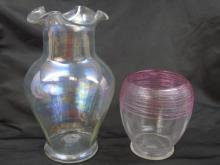 Two Vintage Art Glass / Blown Glass Table Vases