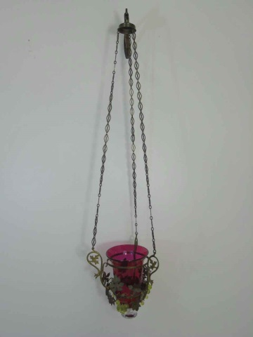 Ormolu Metal & Grape Motif Wall Lantern Sconce