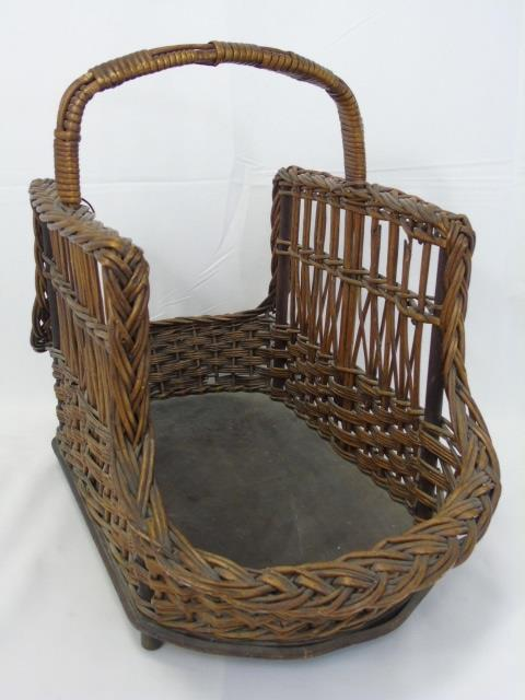 Vintage American Woven Basket Form Magazine Holder