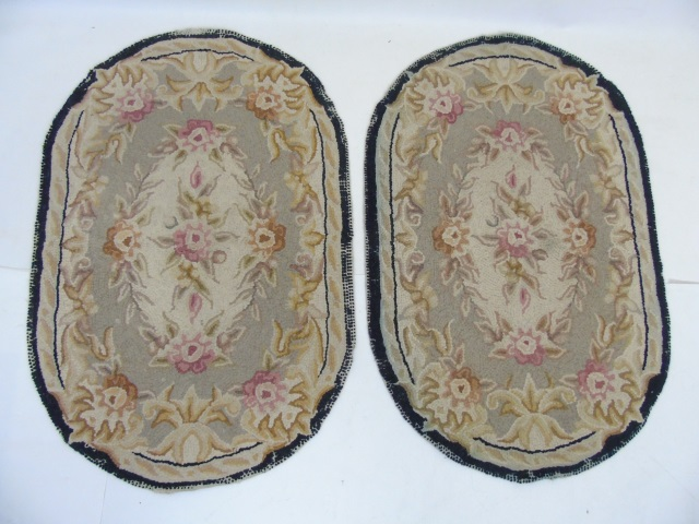 Pair Antique American Folk Art Hooked Oval Rugs