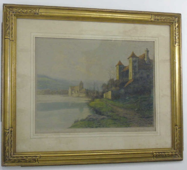 Signed Antique Painting of German Schloss & River