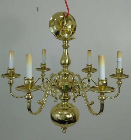 Large Vintage Brass Williamsburg Style Chandelier