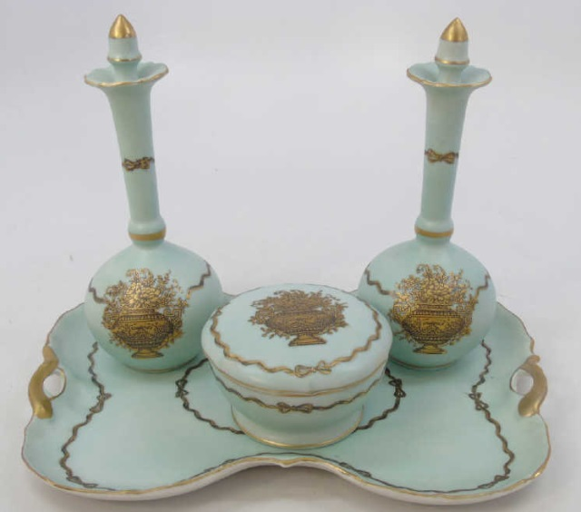 Antique Porcelain Ladies Four Piece Vanity Set