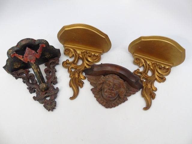 Four Assorted Carved or Gilt Wood Wall Brackets